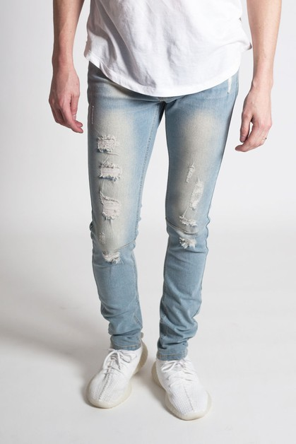 DESTROYED DENIM PANTS - orangeshine.com