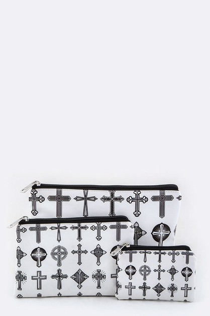 Mix Cross Print Mini Pouches Set - orangeshine.com