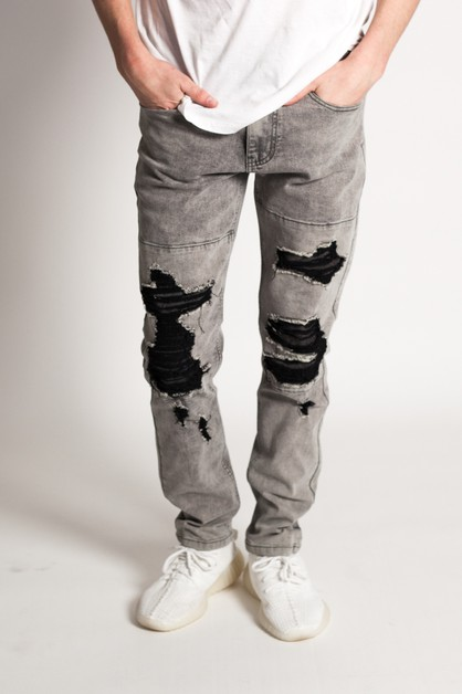 PATCHED SLIM DENIM JEANS - orangeshine.com