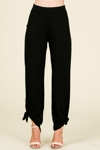SPLIT SIDE TIED HEM PANTS - orangeshine.com