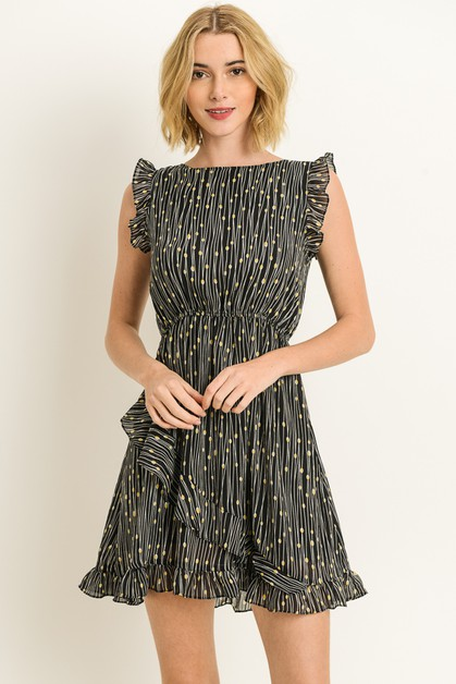 Abstract Ruffle Dress - orangeshine.com