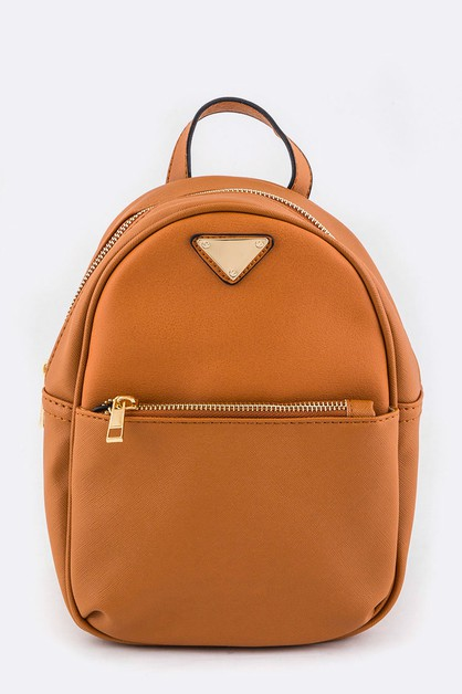 Triangle Plate Accent Mini Backpack - orangeshine.com