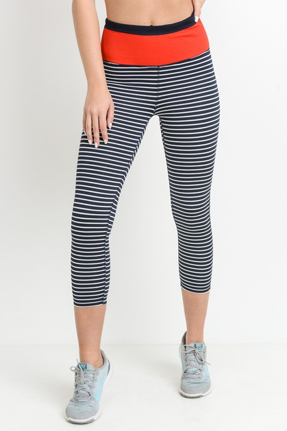 Highwaist Stripes Capri Leggings - orangeshine.com