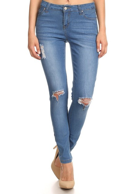 Skinny Denim jeans Pants Distressed  - orangeshine.com