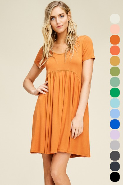 Short Sleeve Pleated Short Dress - orangeshine.com