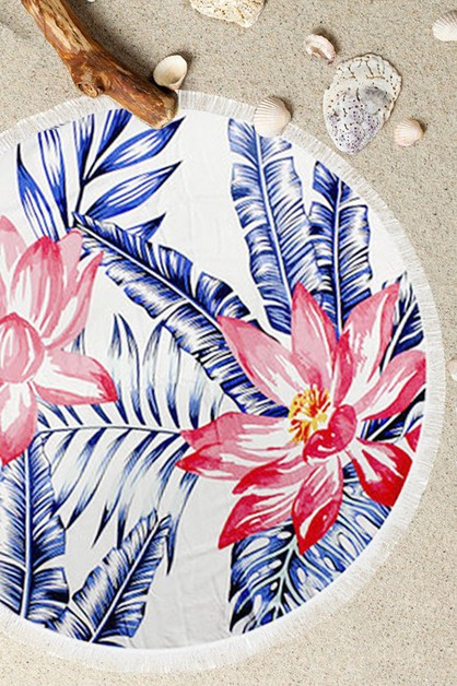 Tropical Floral Terry Round Towel - orangeshine.com