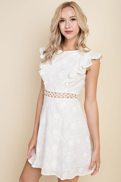 Ruffle Eyelet Dress With Lace - orangeshine.com