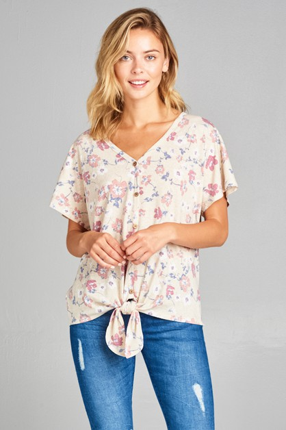 FLORAL BUTTON FRONT V NECK TIE TOP - orangeshine.com