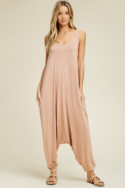 Round Neck Sleeveless Harem Jumpsuit - orangeshine.com