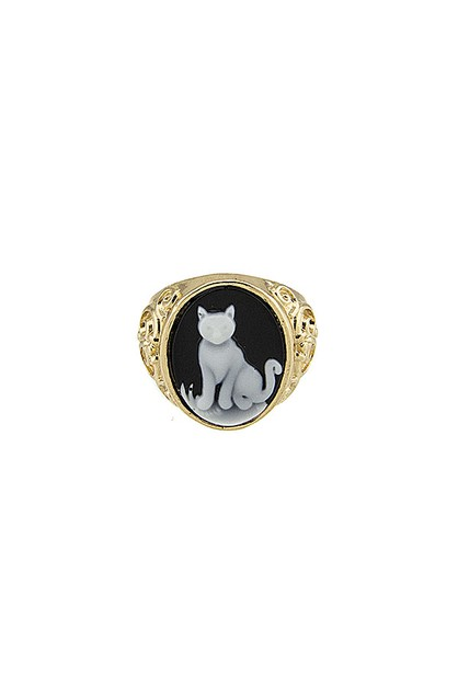 CAT CAMEO SIGNET RING - orangeshine.com