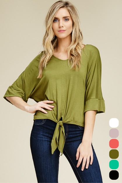 Relaxed Front Tie Half Sleeve Top - orangeshine.com