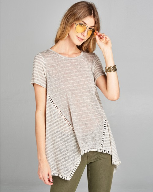 SS asymmetrical top with lace trim - orangeshine.com