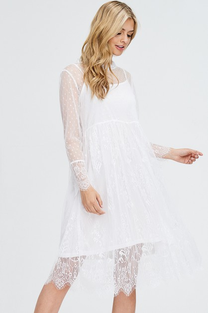 Lace Mock Neck Sheer Dress - orangeshine.com