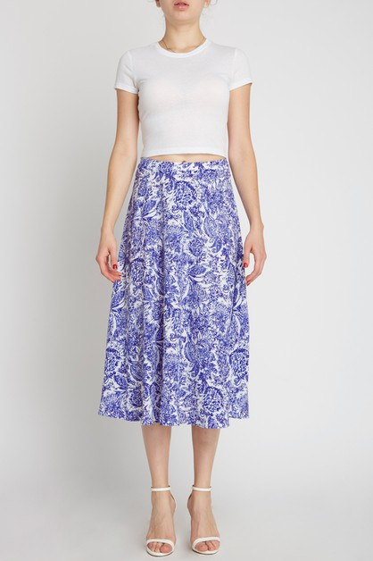 Floral Tea Length Skirt purple blue  - orangeshine.com