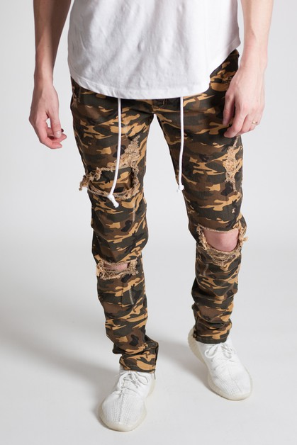 CAMO DISTRESS ANKLE ZIP PANTS - orangeshine.com