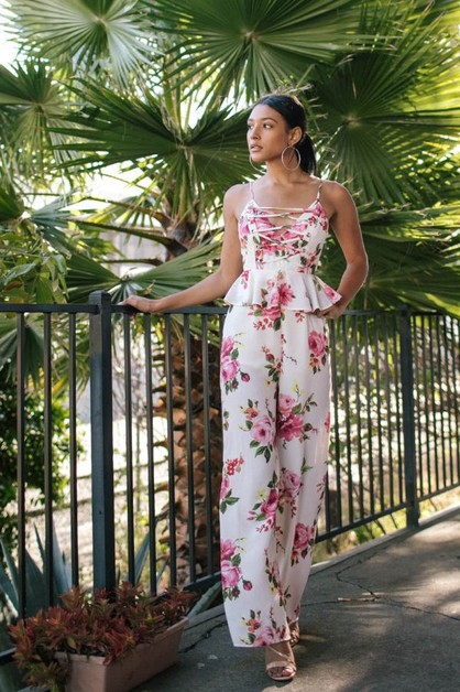 FLORAL JUMPSUIT WITH RUFFLED WAIST - orangeshine.com