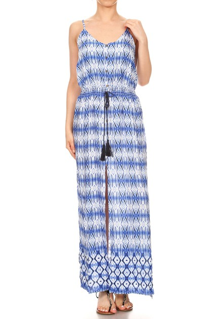 blue White Casual maxi Dresses Boho - orangeshine.com