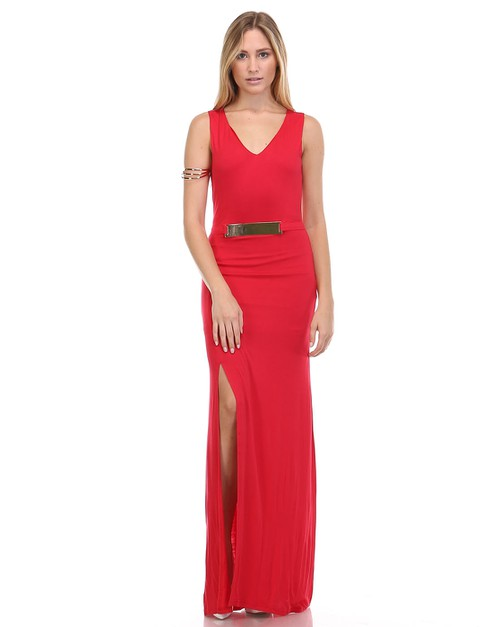 SEXY MAXI DRESS WITH METALLIC DETAIL - orangeshine.com