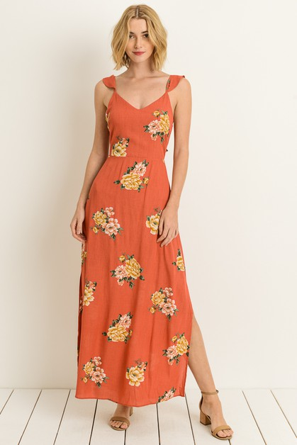 Flutter Sleeve Bow Maxi Dress - orangeshine.com