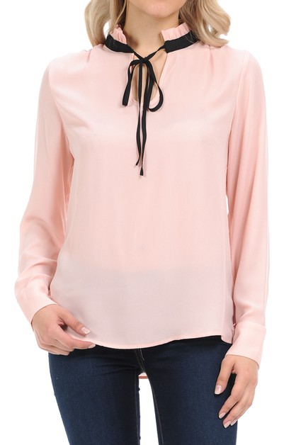 Long Sleeve Loose Fit Woven Blouse - orangeshine.com