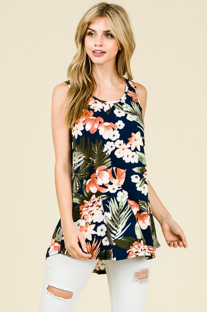RELAXED FLORAL PRINT SLEEVELESS TOP - orangeshine.com