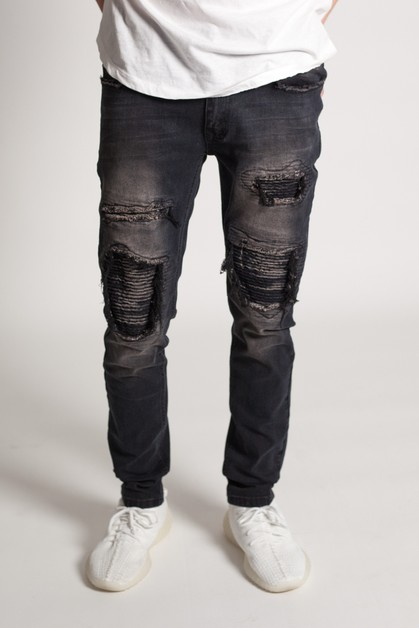 DISTRESSED MOTO SKINNY PANTS - orangeshine.com