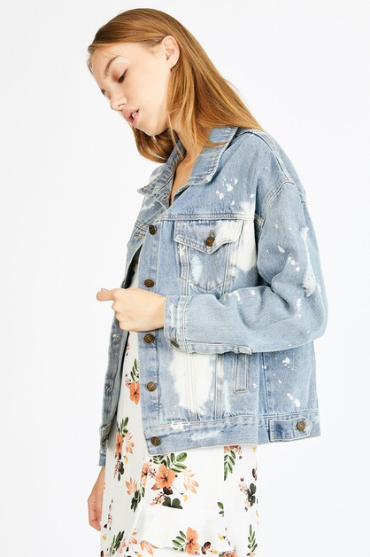 DENIM BLEACHED JACKET  - orangeshine.com