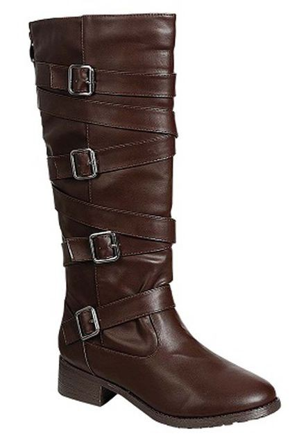 FAUX LEATHER SIDE BUCKLES BOOTS - orangeshine.com