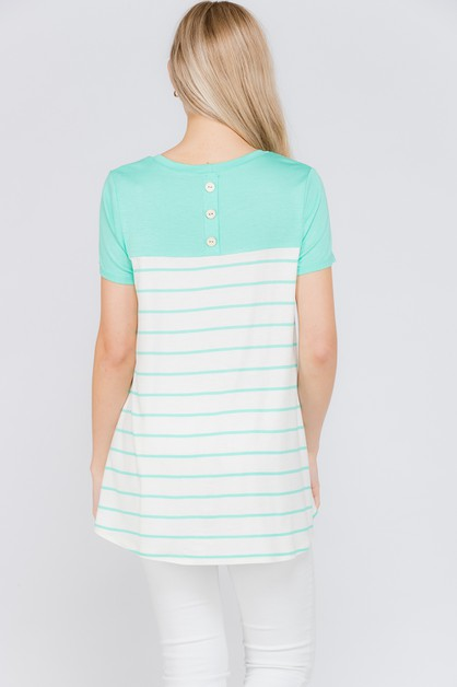 Stripe Button Back Accent Top - orangeshine.com