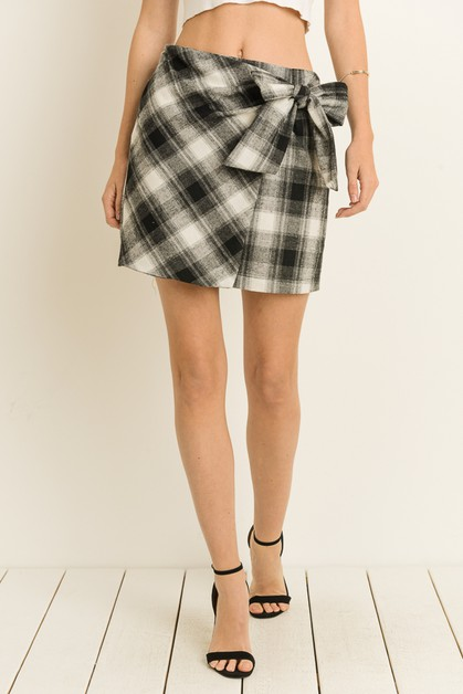 Plaid Flannel Tie Waist Wrap Skirt - orangeshine.com