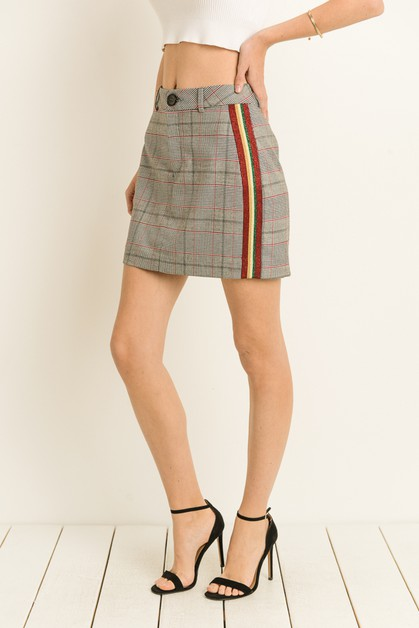 Plaid Striped Mini Skirt - orangeshine.com