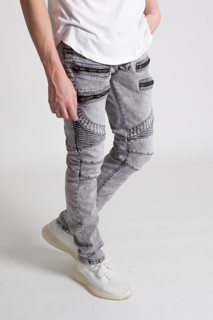 ACID WASH MOTO JEANS - orangeshine.com