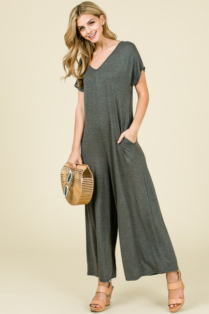 SHORT SLEEVE SOLID JUMPSUIT  - orangeshine.com