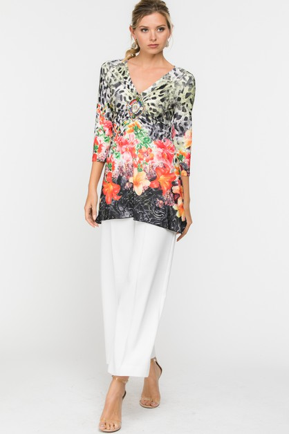 V-Neck Sleeve Floral Print Top - orangeshine.com