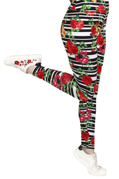 Striped Floral Yoga Band Legging - orangeshine.com