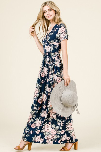 FLORAL PRINT BELT TIE MAXI DRESS - orangeshine.com