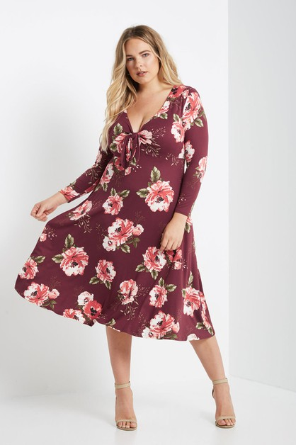 Floral Front Tie Fit and Flare Midi  - orangeshine.com