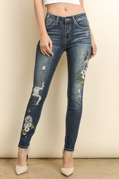 FLORAL EMBROIDERED SKINNY PANTS - orangeshine.com
