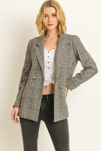 Plaid blazer - orangeshine.com