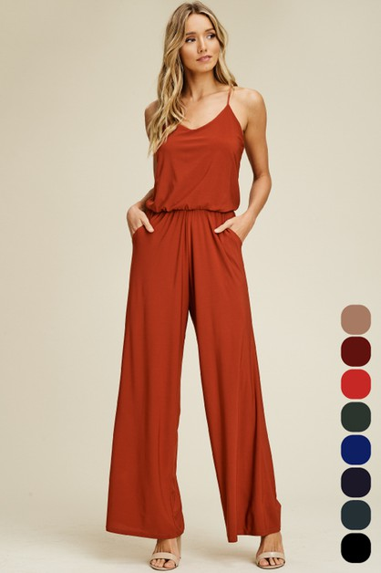 Sleeveless Elastic Jumpsuit - orangeshine.com