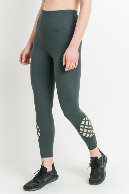 Highwaist Globe Lattice Grid Legging - orangeshine.com