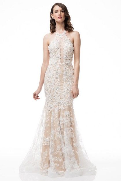Halter Neck Bridal Dress - orangeshine.com
