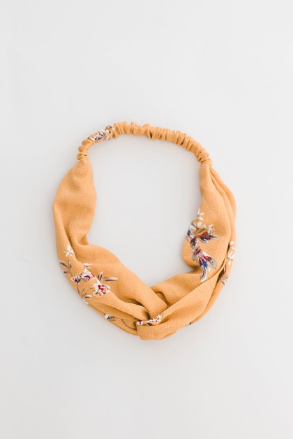 Yellow Floral Twist-front Headband - orangeshine.com