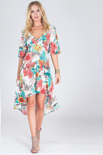 Hi low floral dress - orangeshine.com
