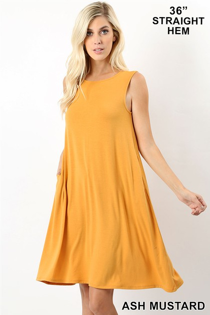 SLEEVELESS FLARED DRESS WHIT POCKETS - orangeshine.com