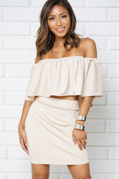 flounce shoulder two piece sets - orangeshine.com