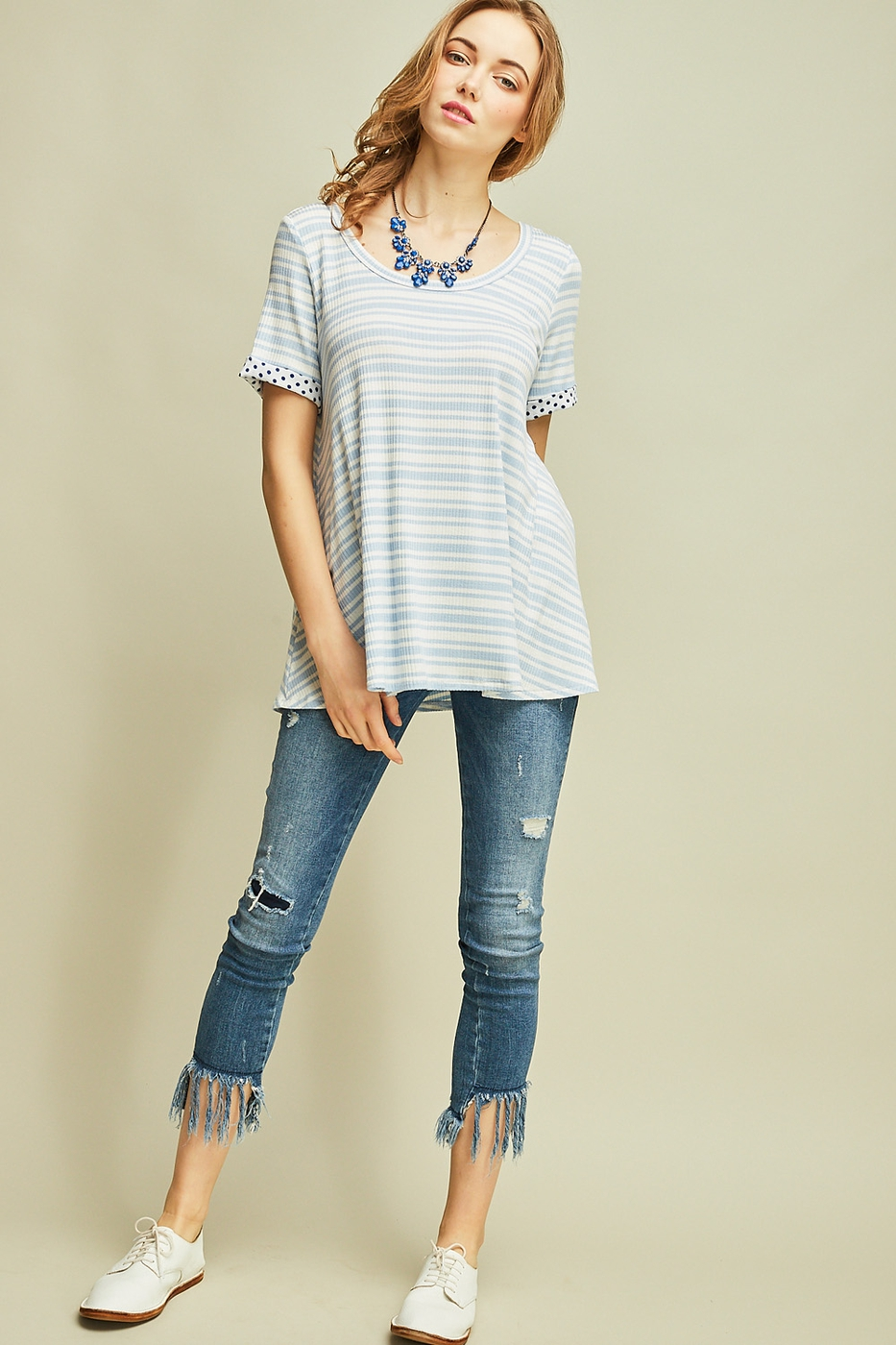 Striped crew-neck top - orangeshine.com