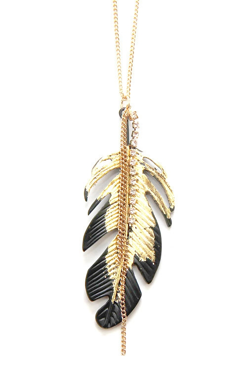 Feather Pendant Necklace Set  - orangeshine.com