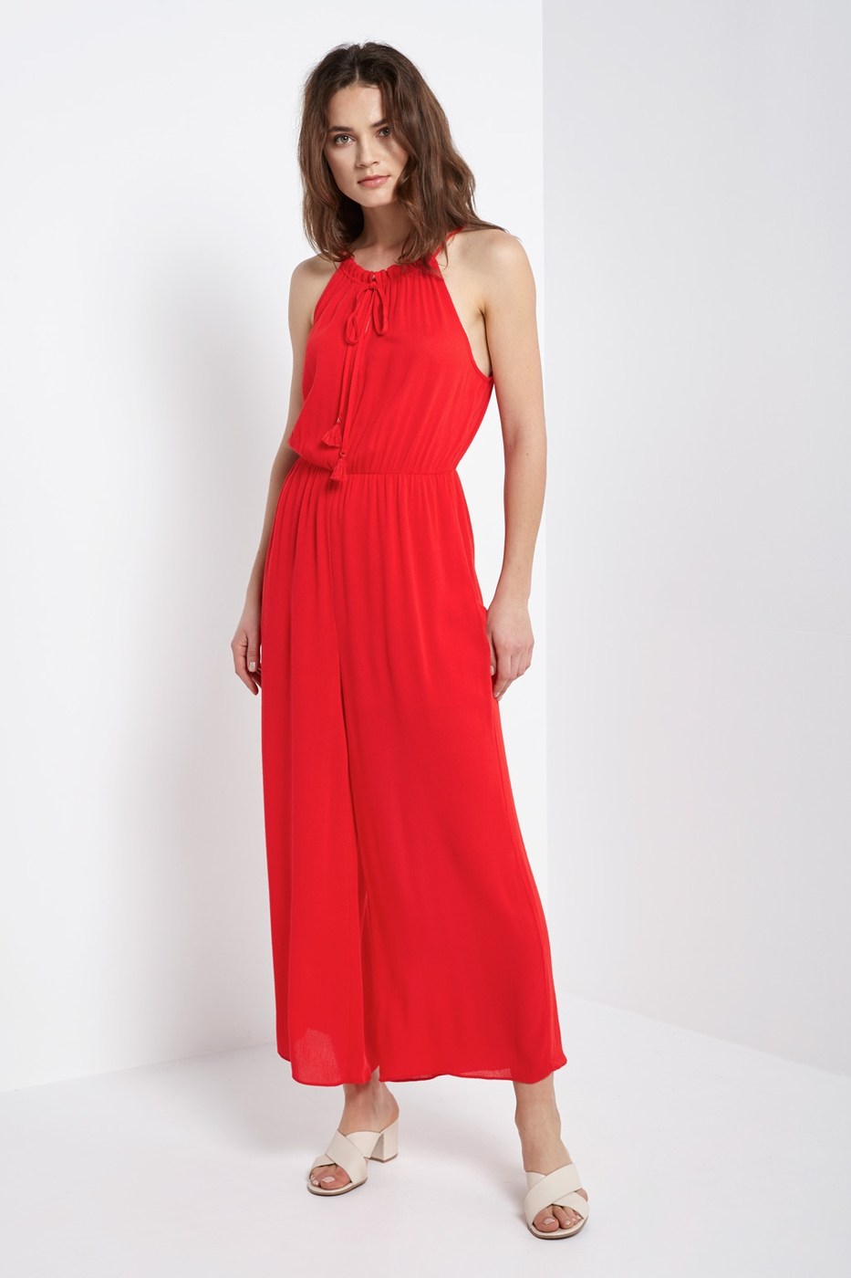 Halter tassel tie jumpsuit Red Navy - orangeshine.com