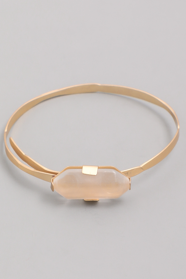Oblong Gemstone Bangle Bracelet - orangeshine.com